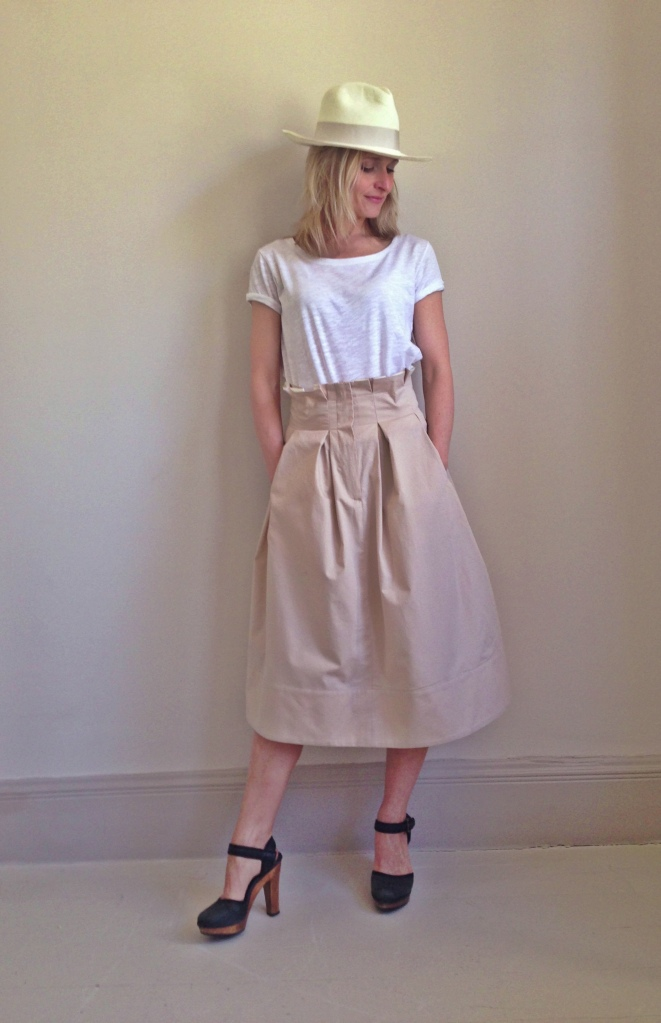 Audrey Skirt - with beautiful pleated waistband, also available in black - £290 - Update your entire wardrobe by wearing the midi length skirt.  Wear with a t-shirt of pristine white shirt.