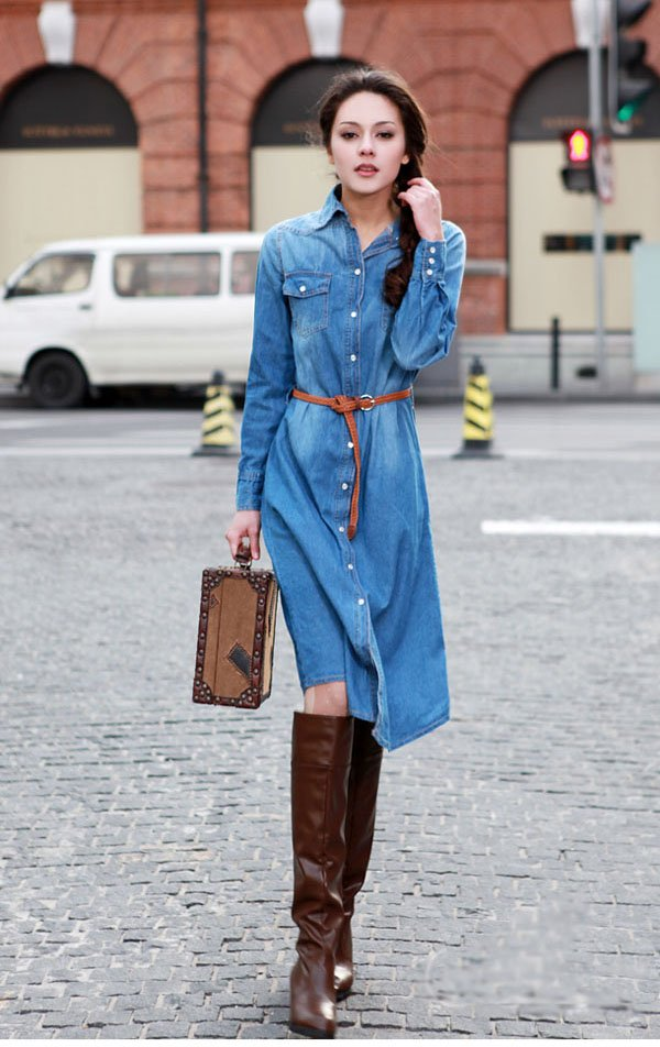 Free-Shipping-Women-Casual-Denim-Dress-Nice-Blue-Jean-Dress-Ball-Skirt-Jeans-Jacket-Coat-Party