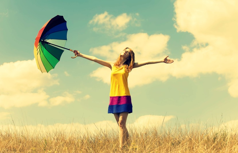 mood-girl-dress-color-hands-smile-summer-umbrella-umbrella-happiness-freedom-freedom-openness-warmth-plants-nature-field-sun-sky-clouds-background-freedom